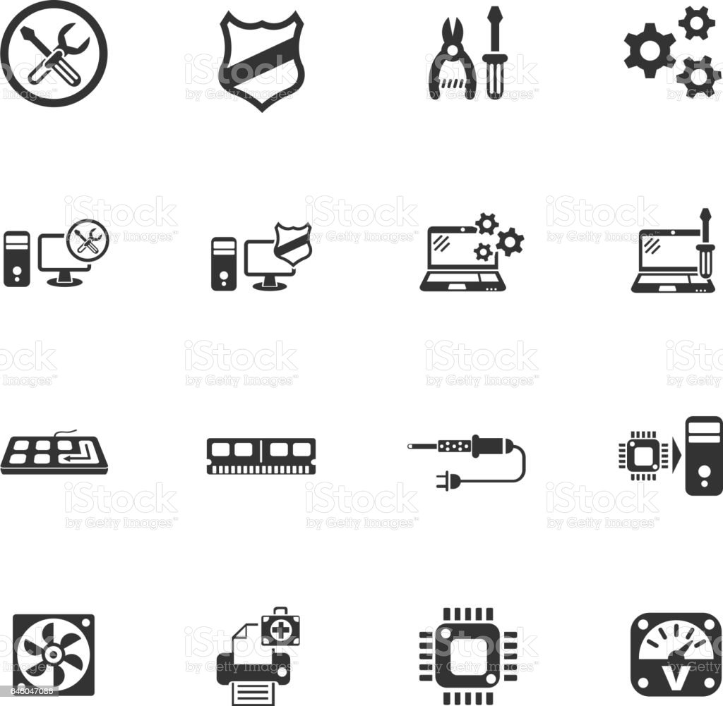 computer repair icon set vector art illustration