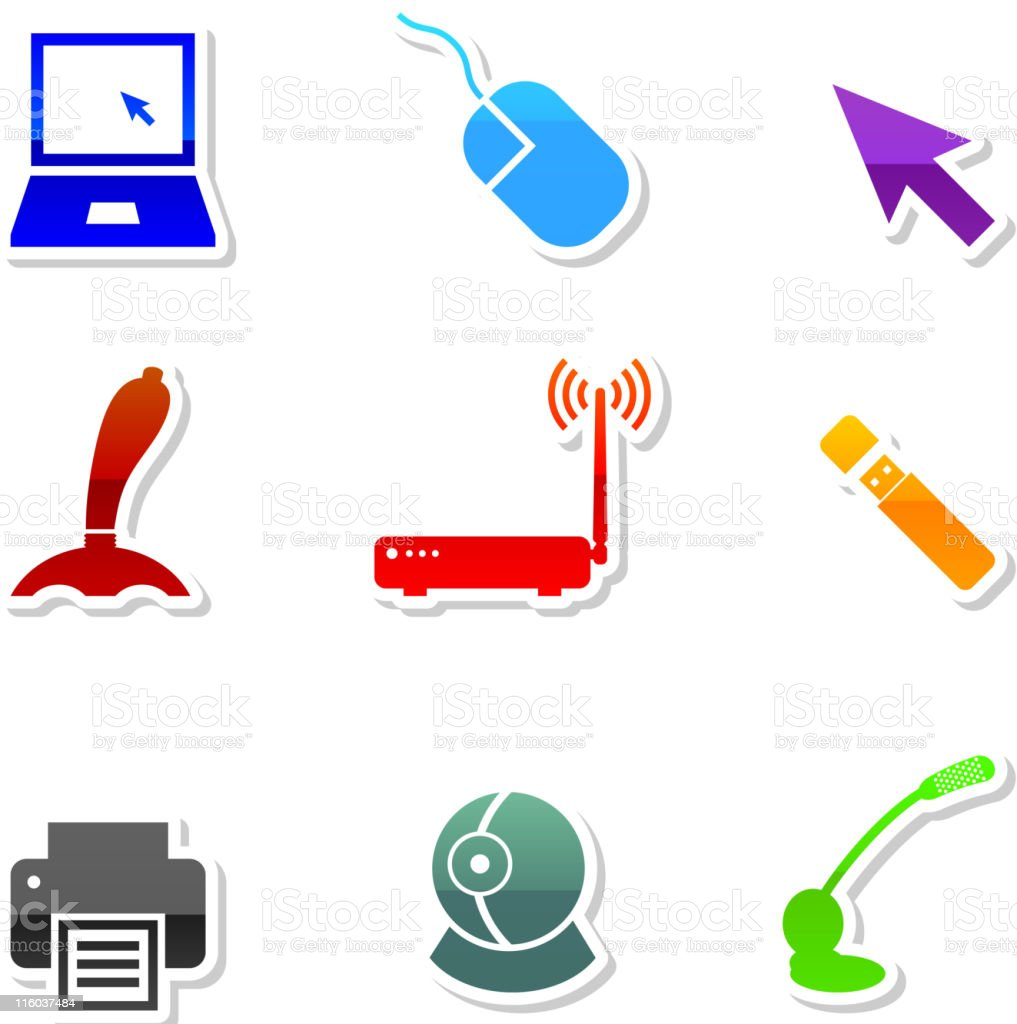 Computer royalty free vector icon set in nine colors royalty-free stock vector art