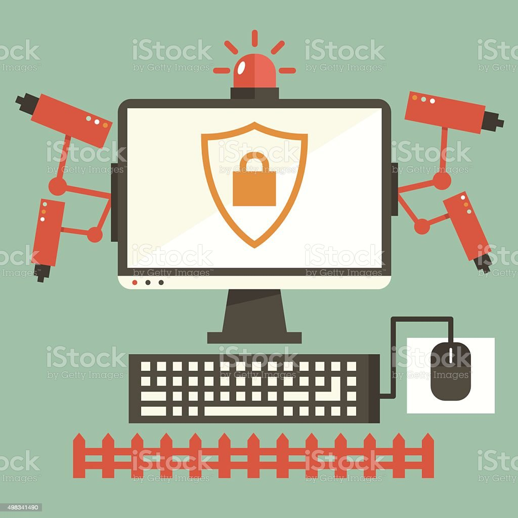 Computer Safety vector art illustration