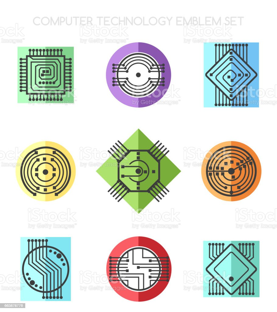 Computer science technology emblem set with processors and chips vector art illustration
