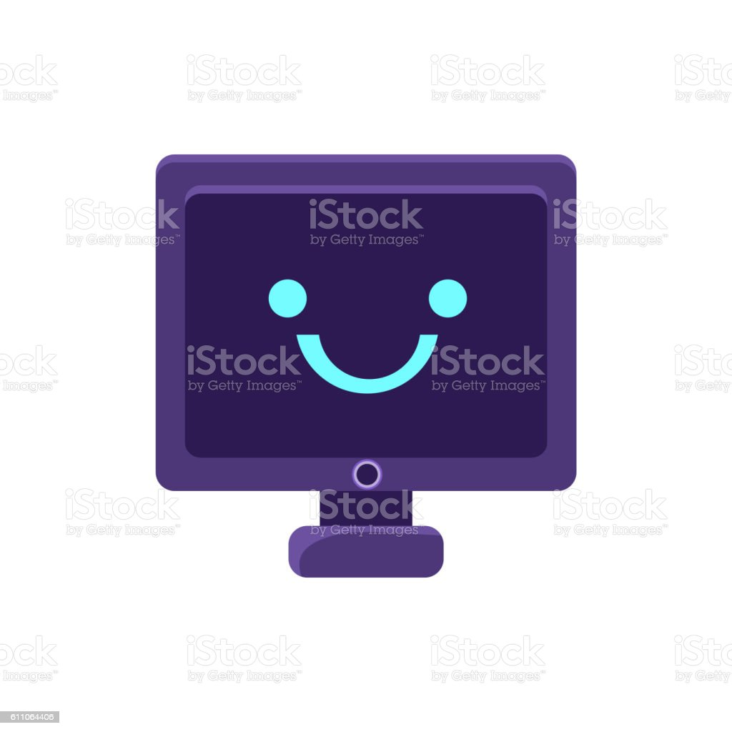 Computer Screen Primitive Icon With Smiley Face vector art illustration