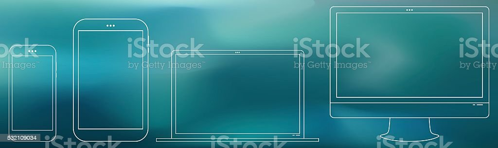 Computer Screen, Tablet PC, Notebook, Smart Phone vector art illustration