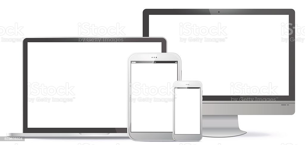 Computer Screen, Tablet PC, Notebook, Smart Phone Vector illustration. vector art illustration