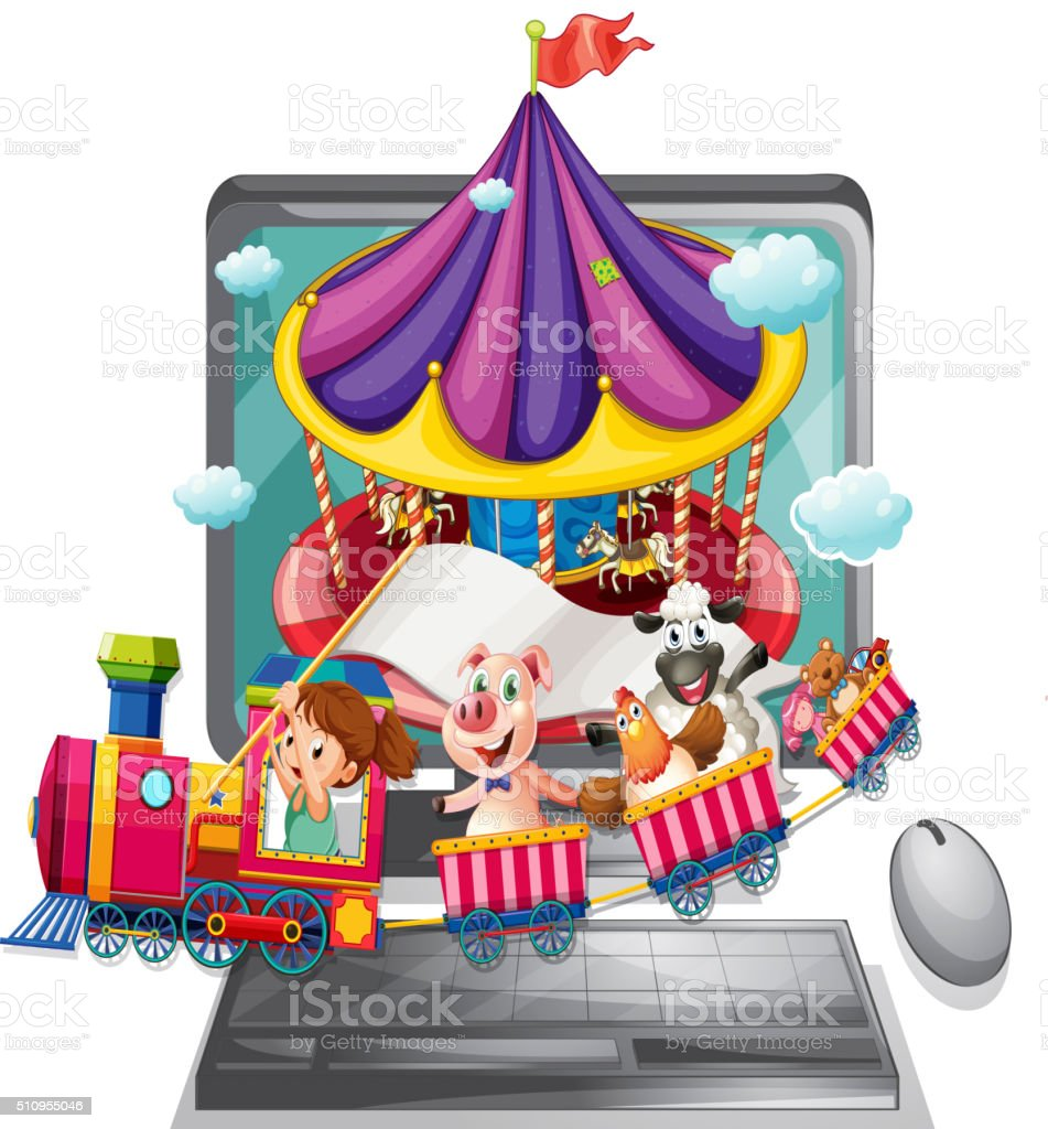 Computer screen with children and animals on train vector art illustration