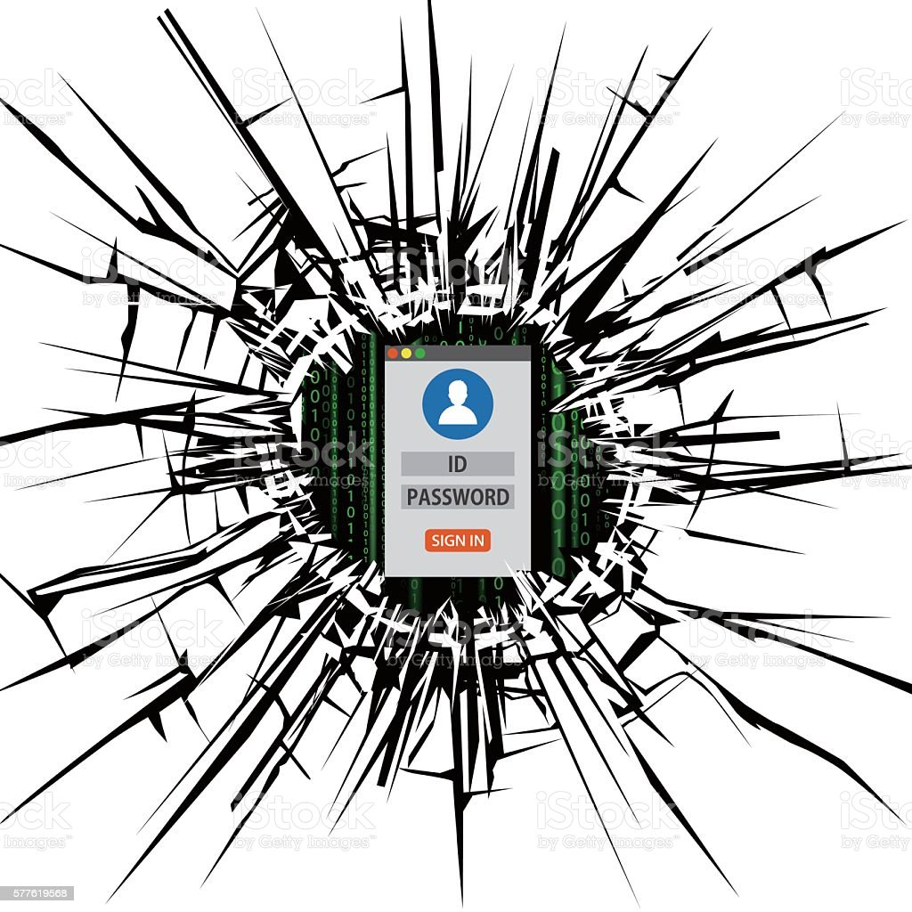 Computer security hole and log in form vector art illustration