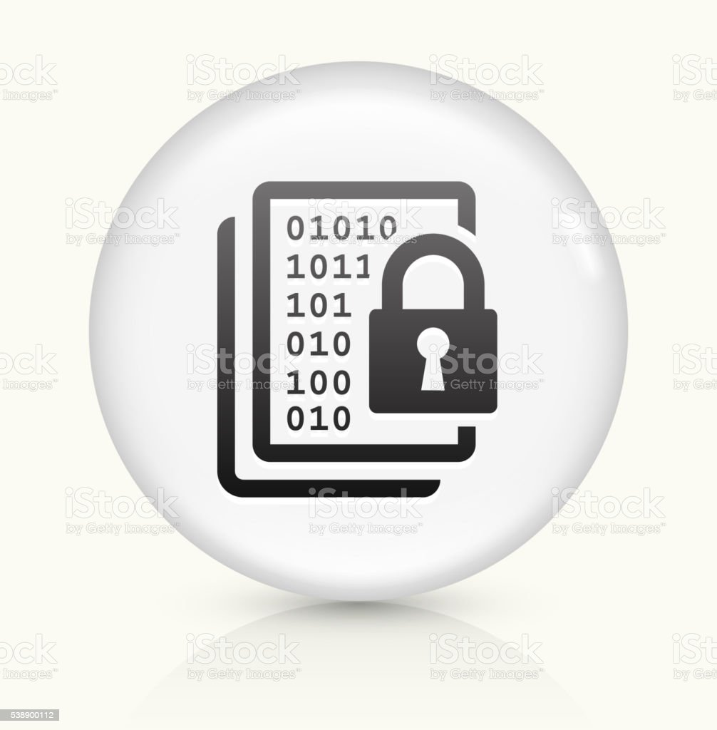 Computer Security icon on white round vector button vector art illustration