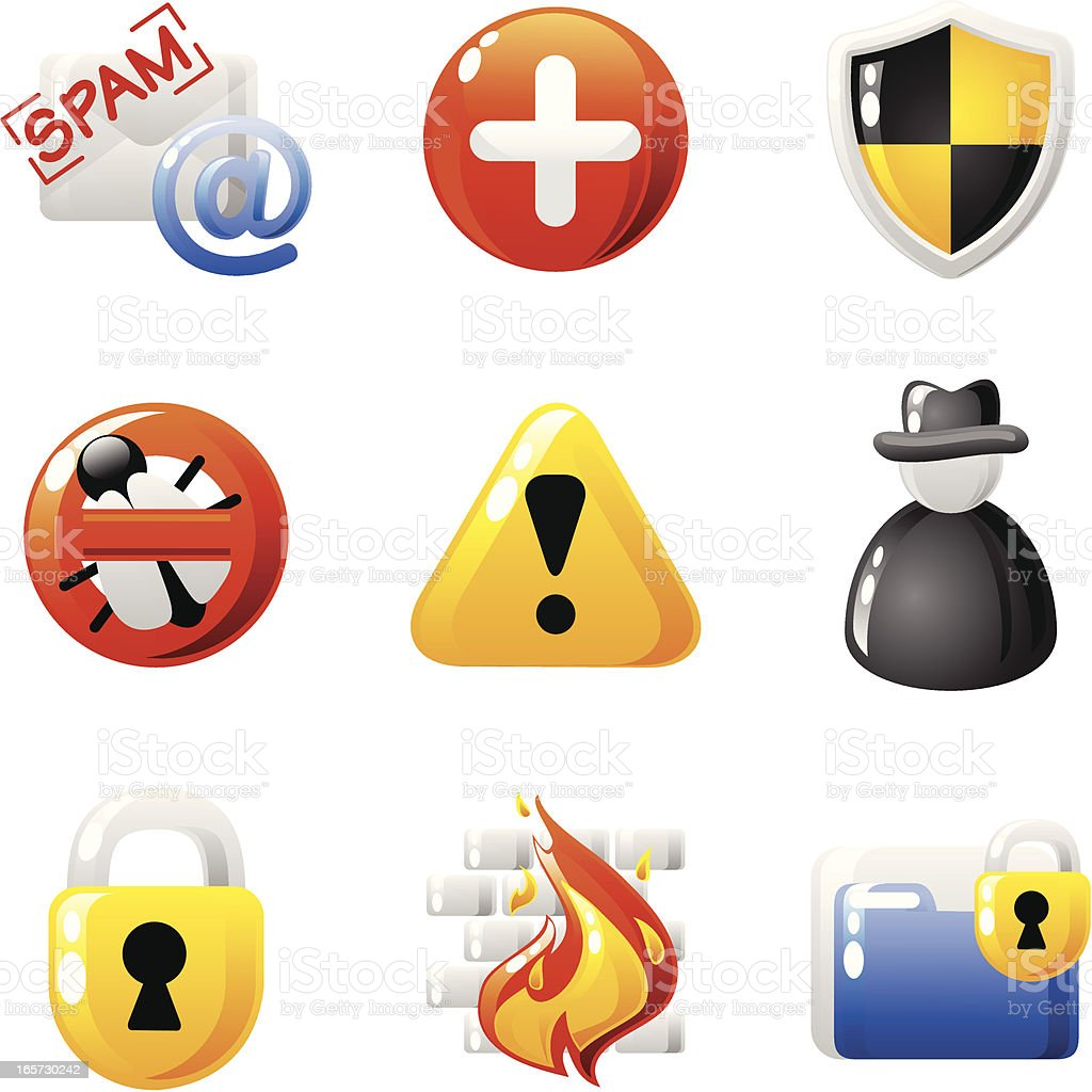 Computer security icons (shiny series) royalty-free stock vector art