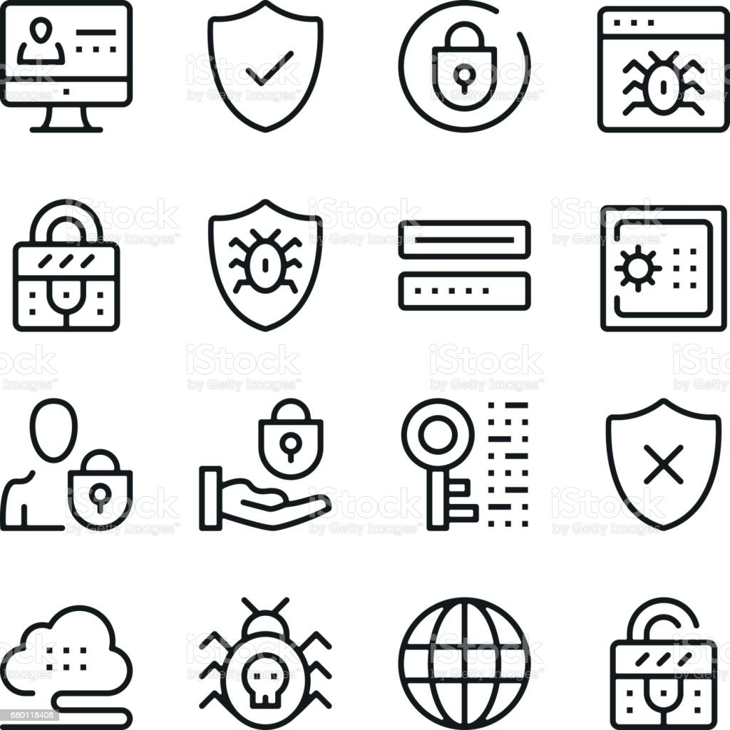 Computer security line icons set. Modern graphic design concepts, simple outline elements collection. Vector line icons vector art illustration