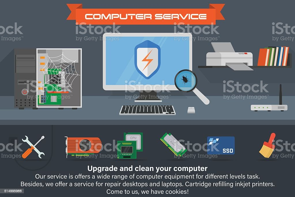 Computer service banner. Running the process of searching virus. vector art illustration