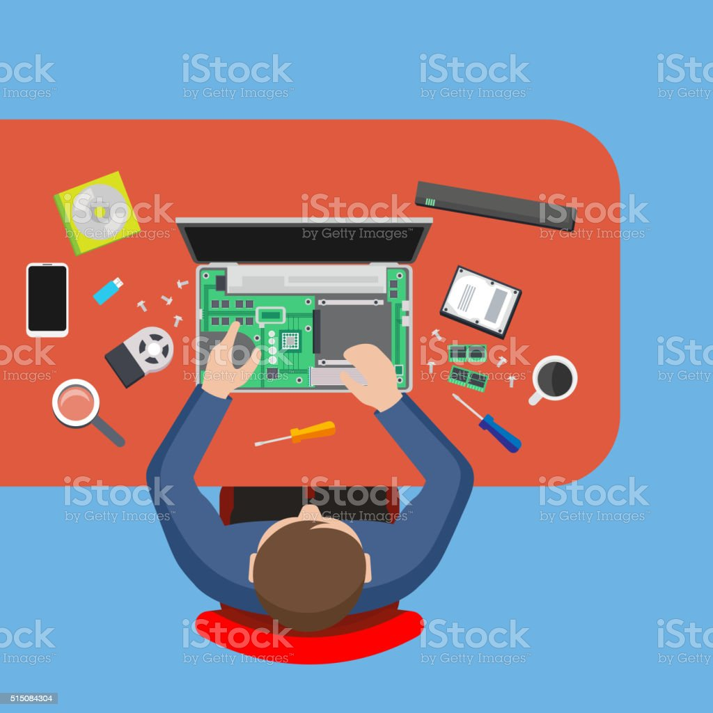 Computer service. Man repairing computer at the table, PC repairer. vector art illustration