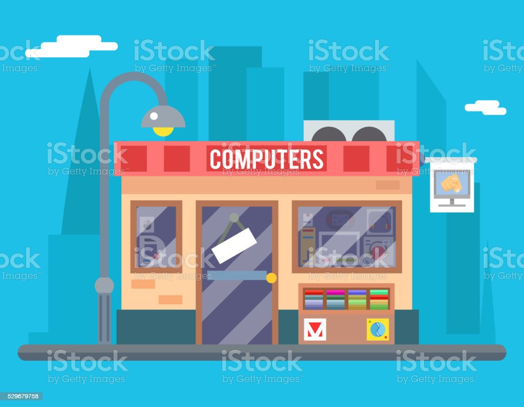 Computer Shop Interior Seller Goods Offer Sale Isolated Icon Flat vector art illustration