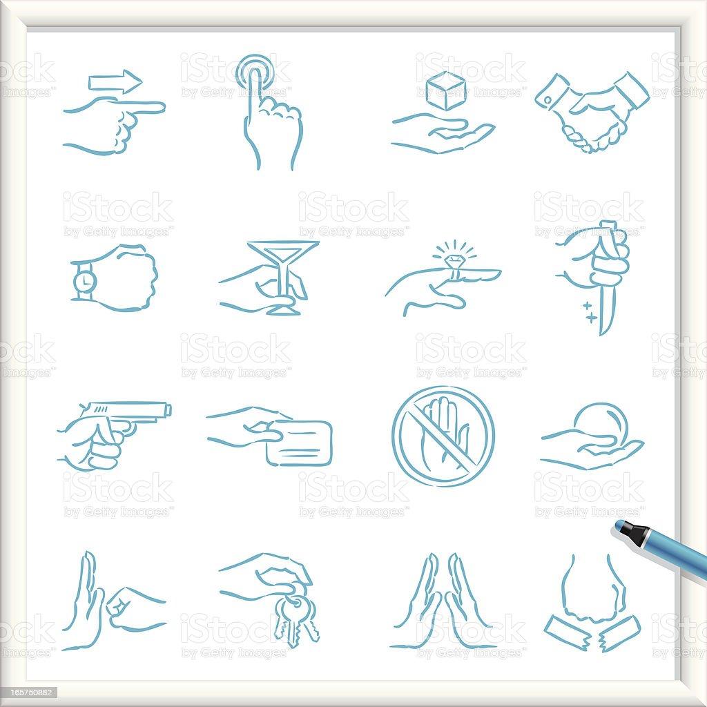 Computer sketch of various hand symbols in blue pen vector art illustration
