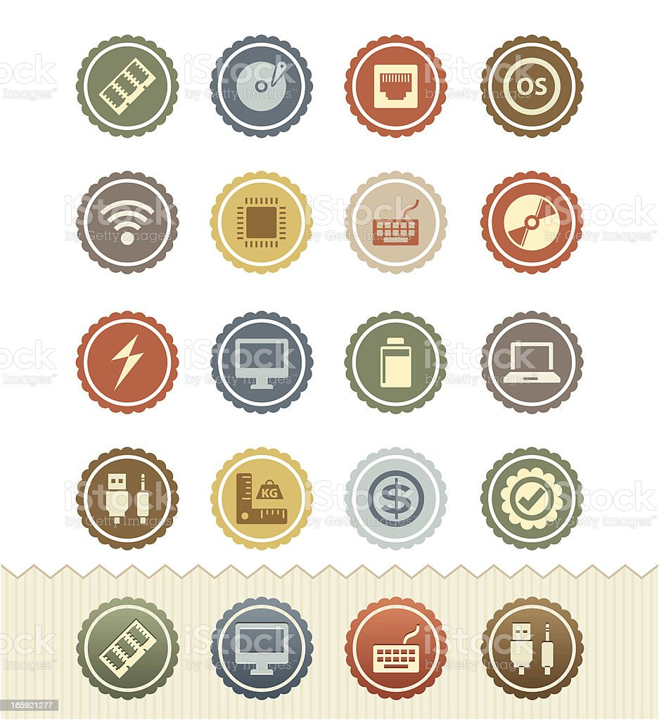 Computer Specification Icons : Vintage Badge Series royalty-free stock vector art