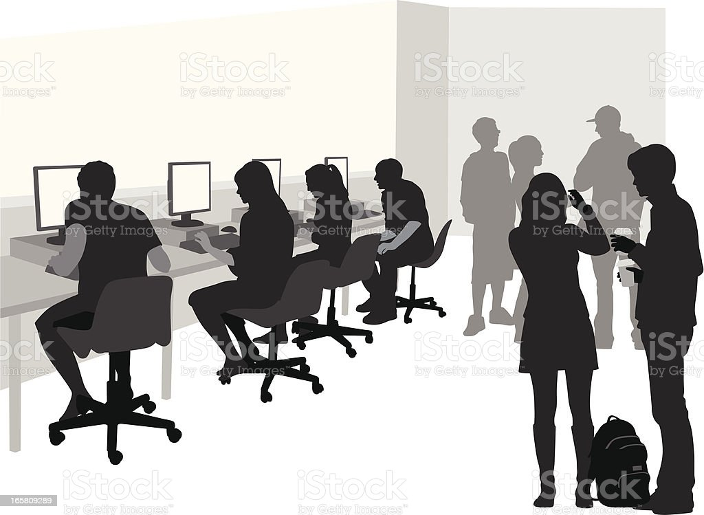 Computer Studies Vector Silhouette royalty-free stock vector art