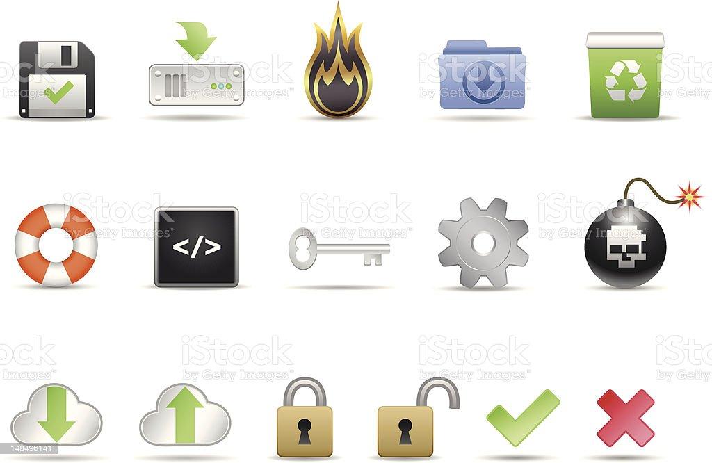 Computer System Icon Set vector art illustration
