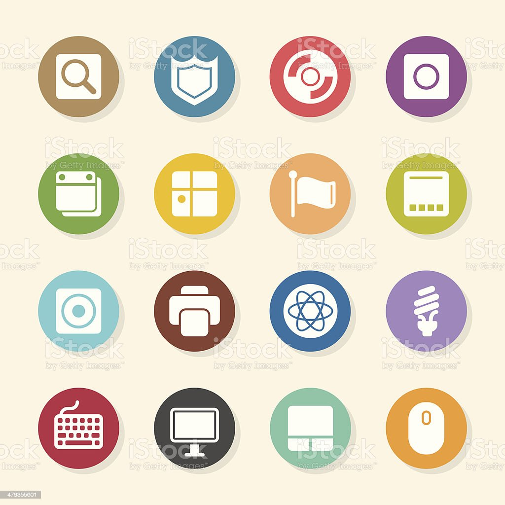 Computer System Icons - Color Circle Series vector art illustration