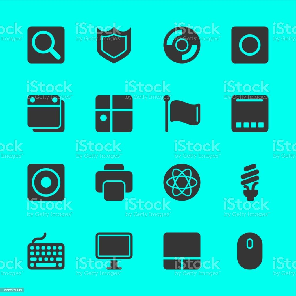 Computer System Icons vector art illustration