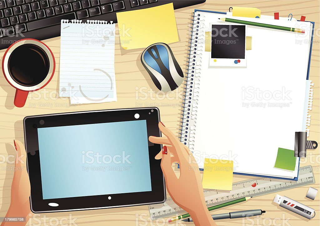 Computer tablet and office desktop vector art illustration
