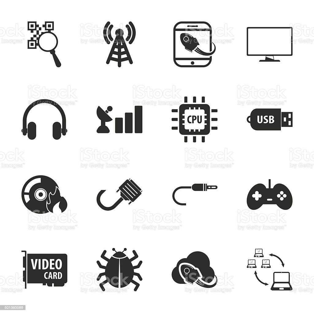 computer, technology 16 icons universal set for web and mobile vector art illustration