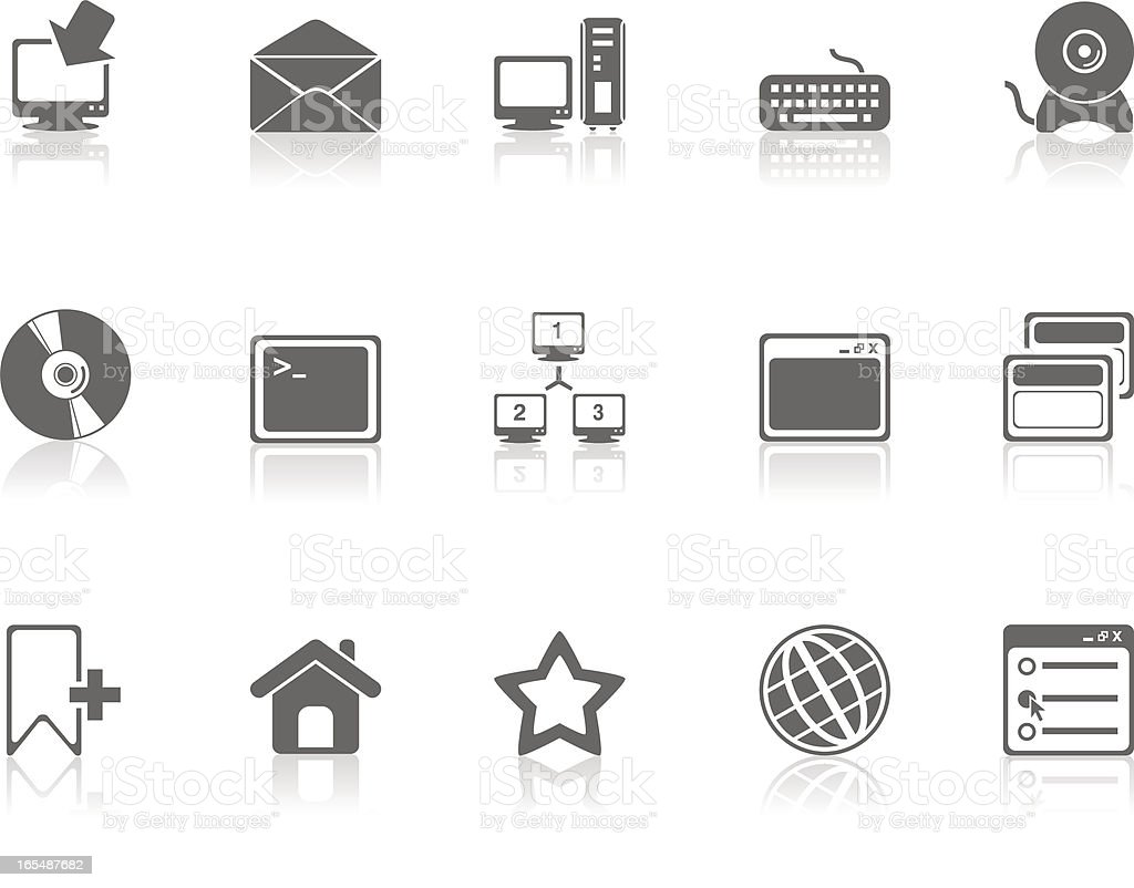 Computer Technology Icons - Grey royalty-free stock vector art