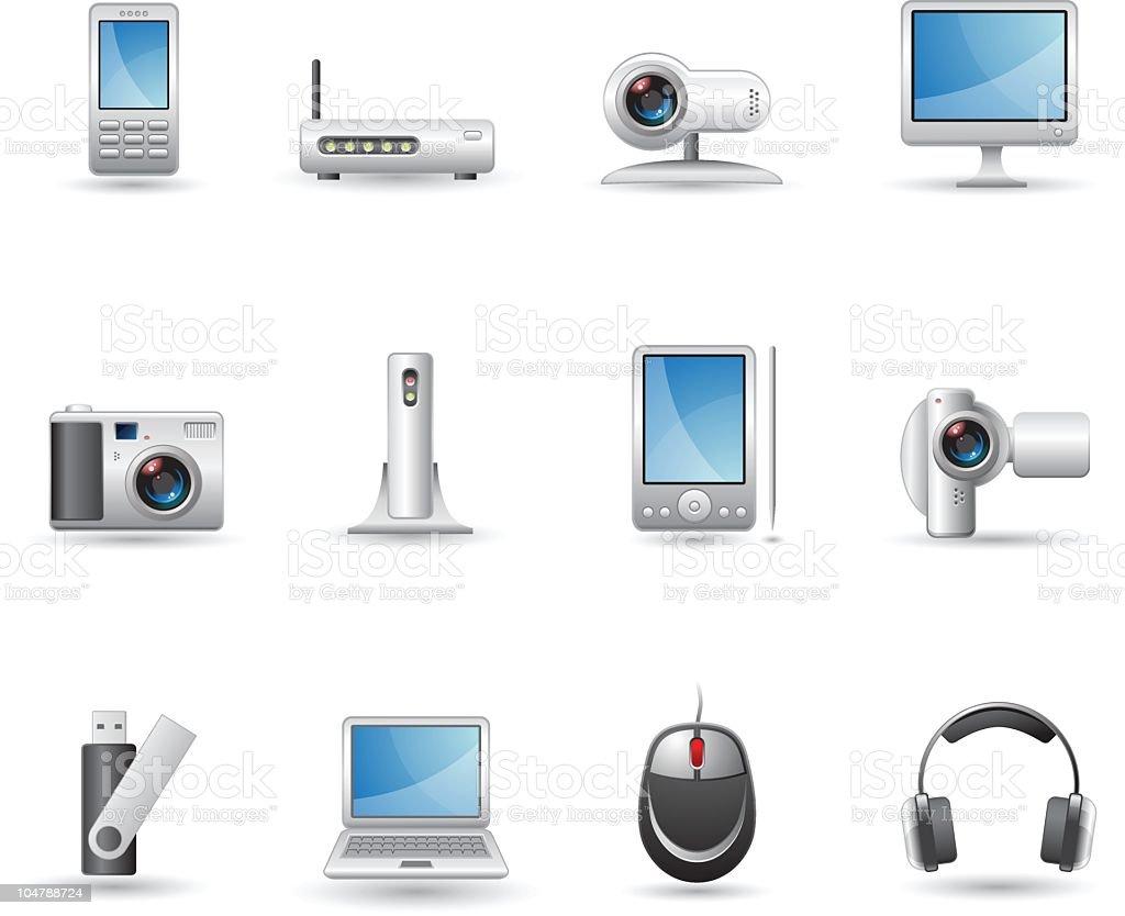 computer technology icons vector art illustration