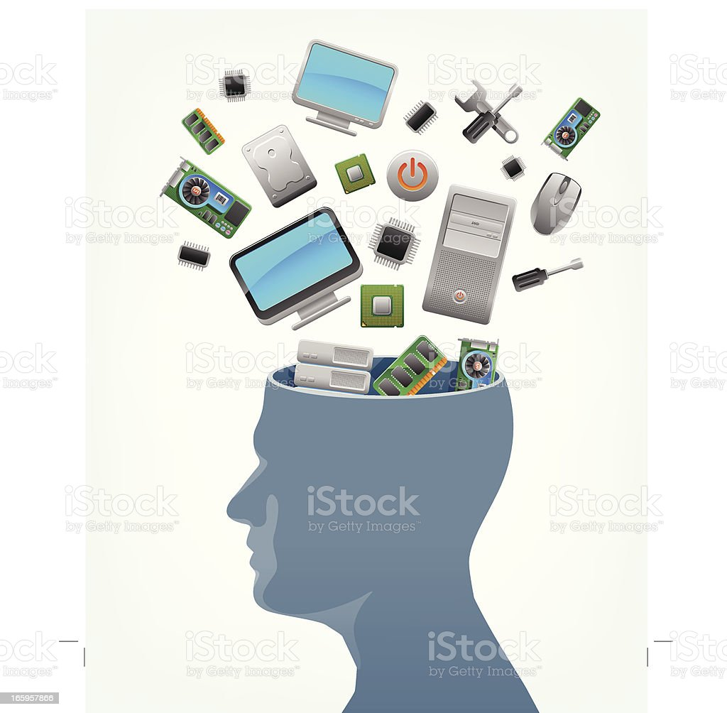 Computer technology in mind royalty-free stock vector art