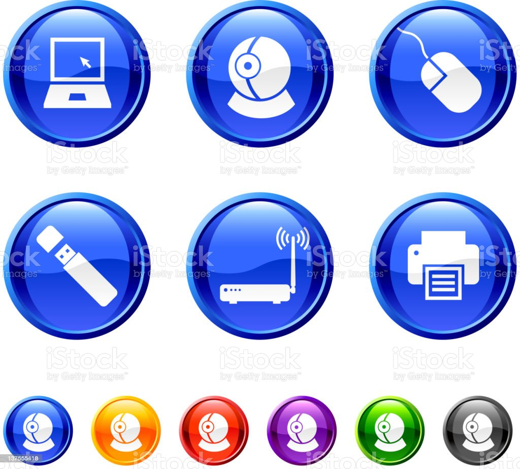 Computer Technology royalty free vector icon set in 36 colors royalty-free stock vector art