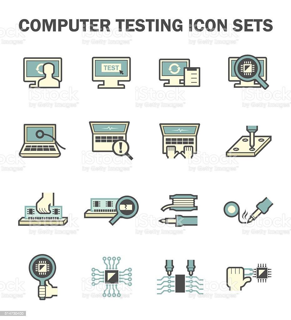 Computer test icon vector art illustration