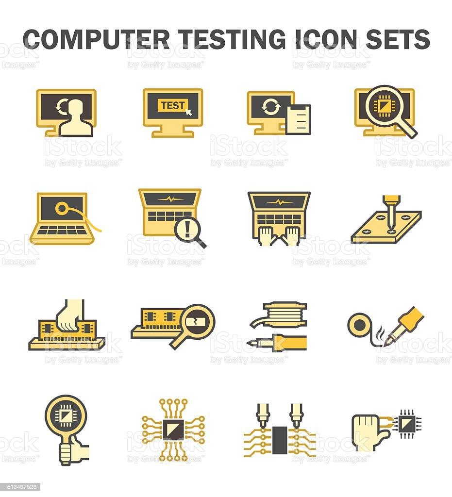 Computer testing vector art illustration