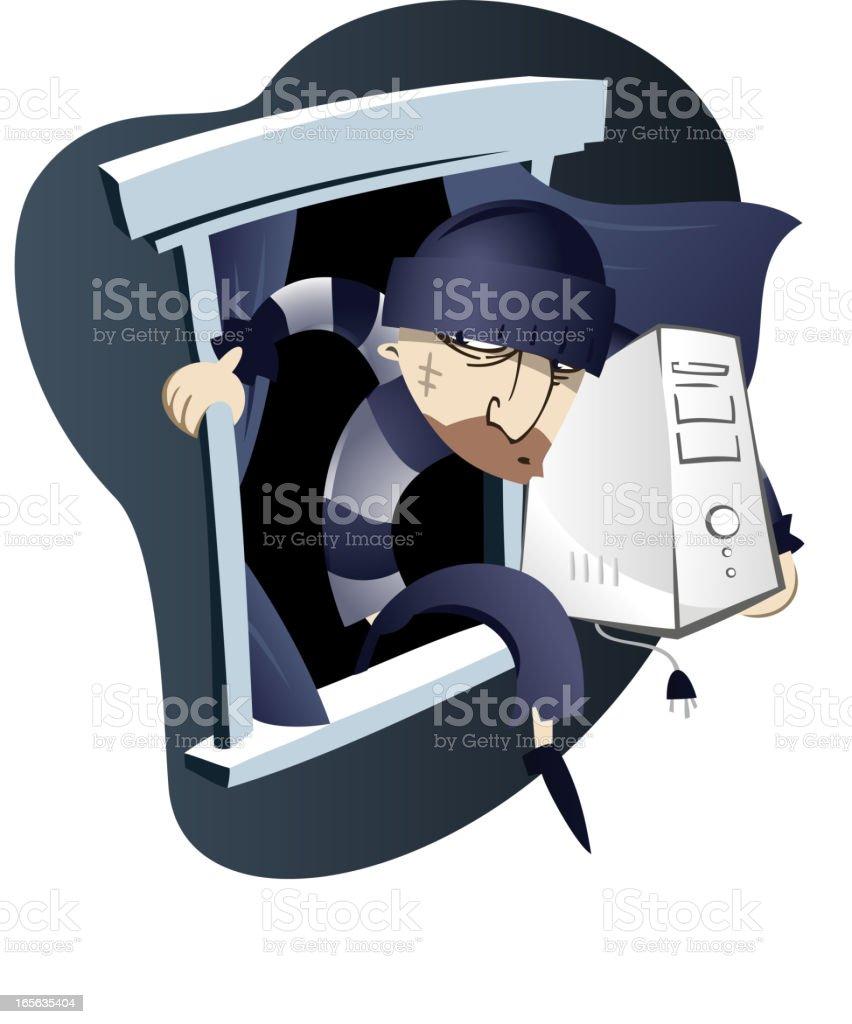 Computer thief vector art illustration