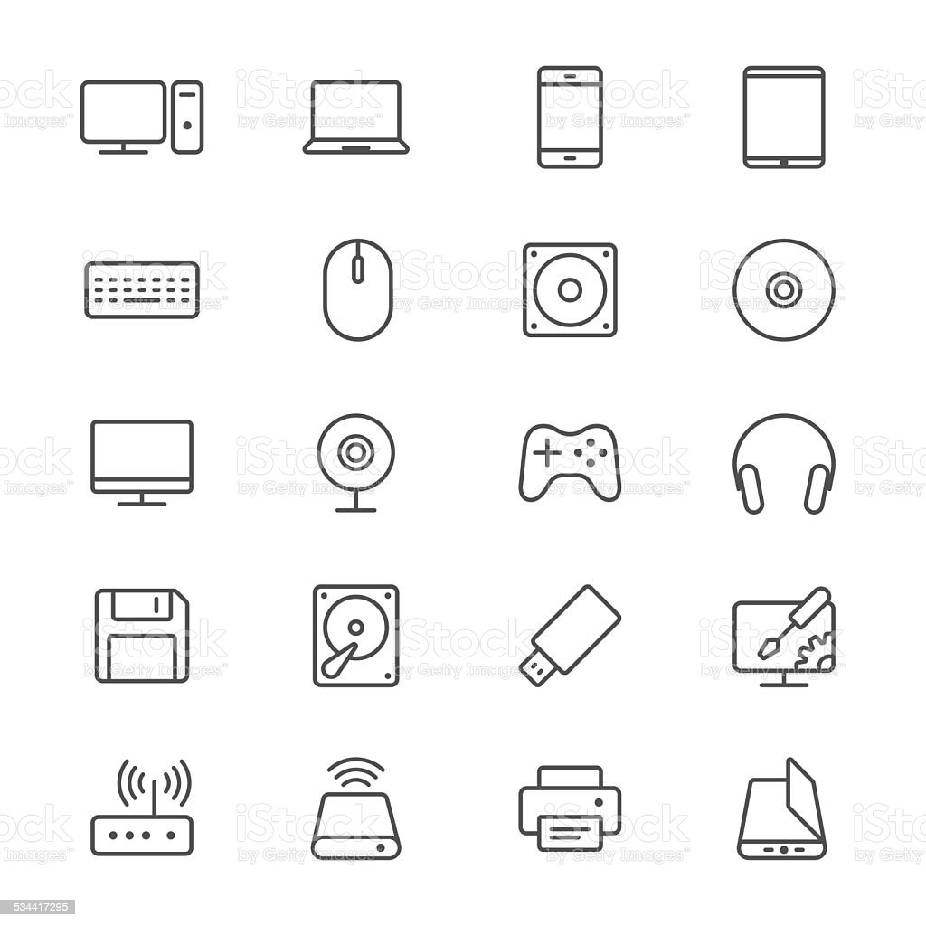 Computer thin icons vector art illustration