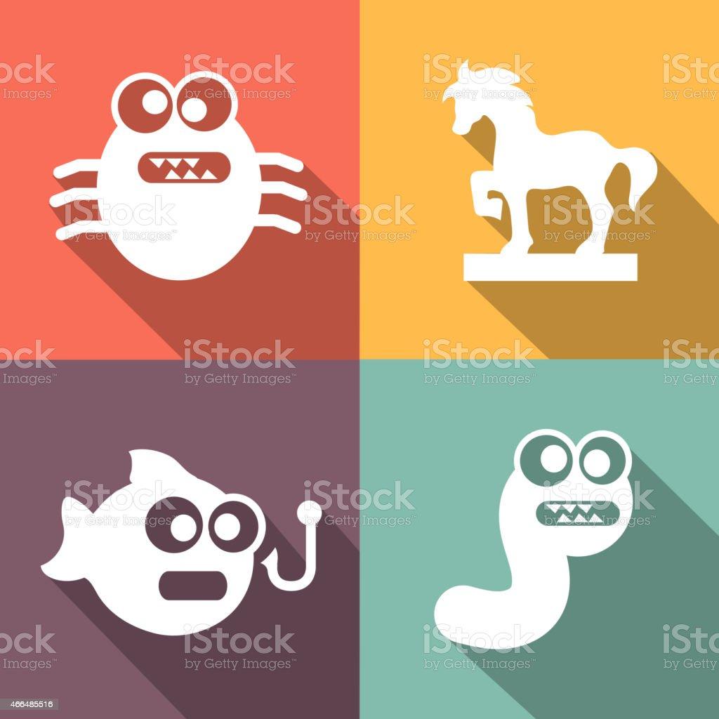 Computer Threats Icons flat style vector art illustration