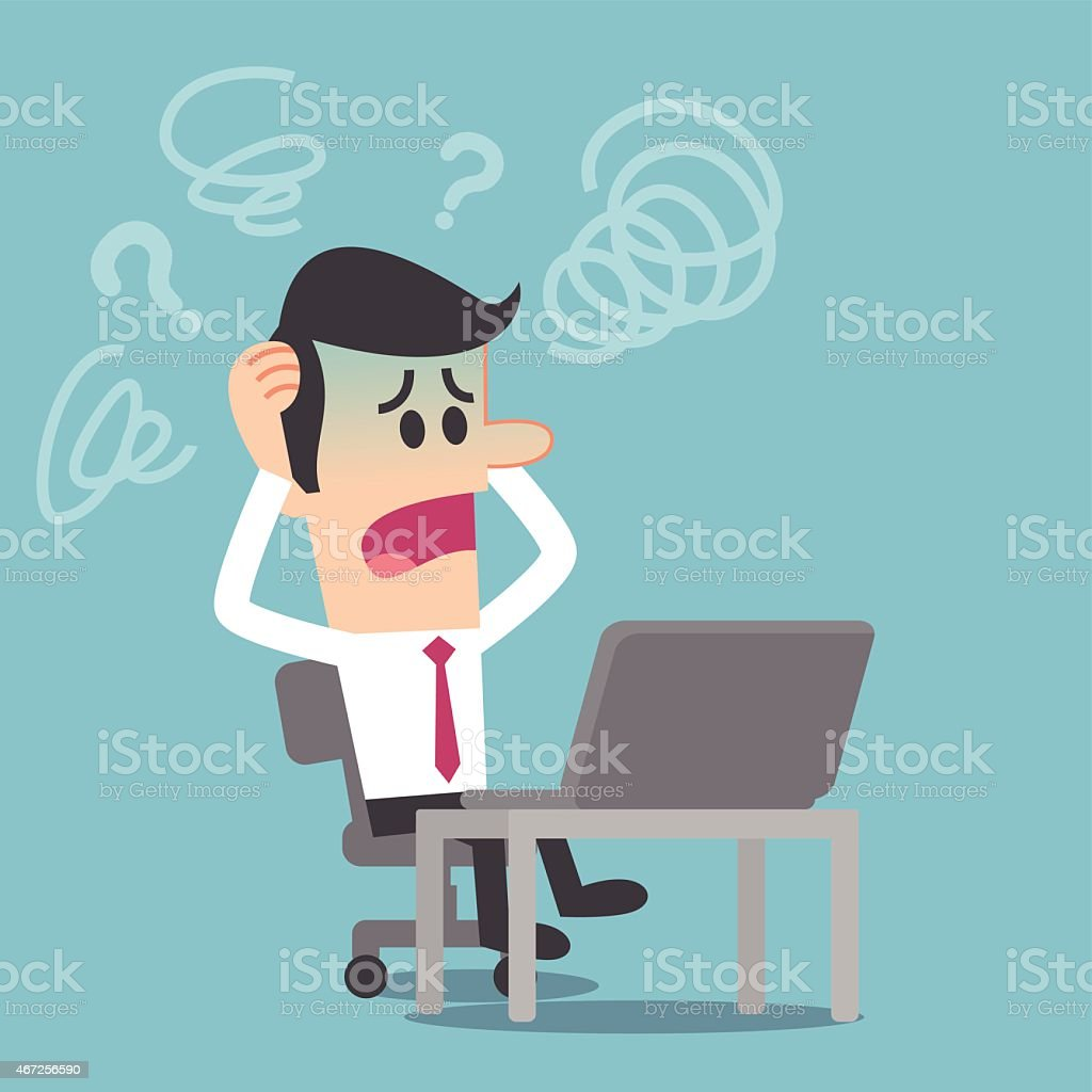 Computer trouble vector art illustration