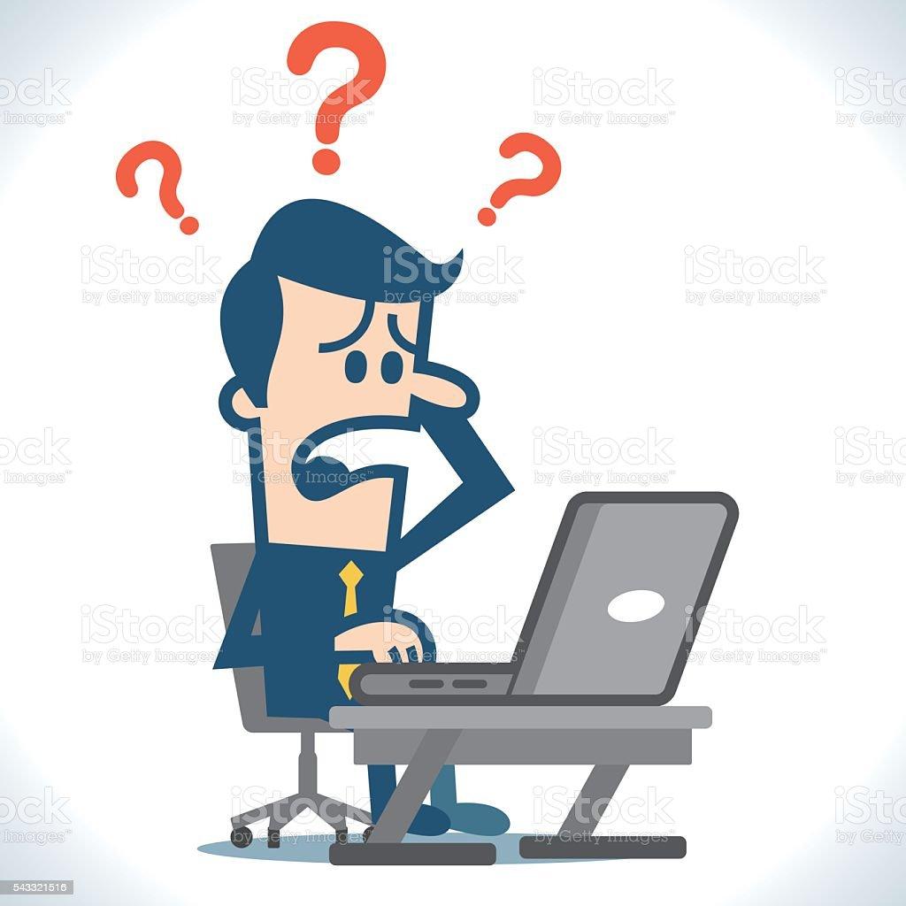 Computer trouble vector art illustration