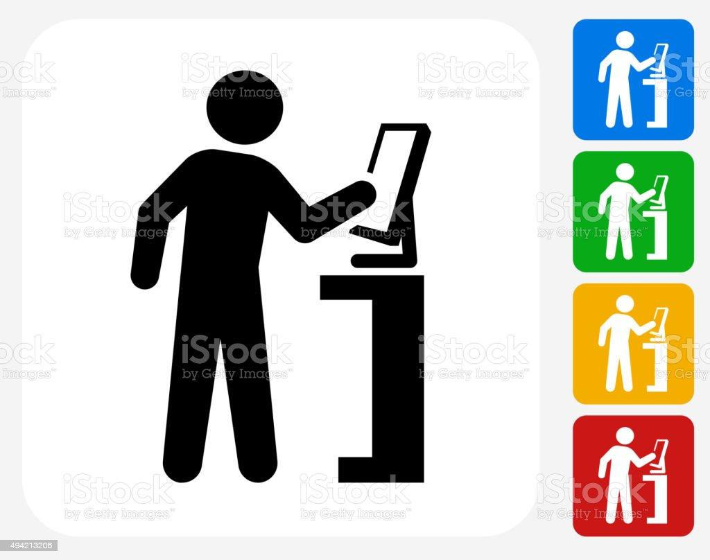 Computer User Icon Flat Graphic Design vector art illustration