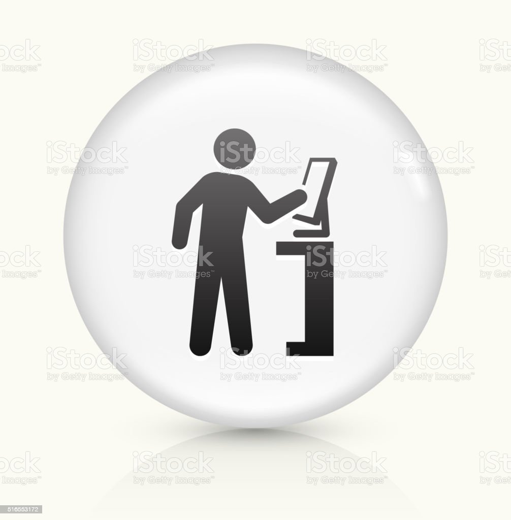 Computer User icon on white round vector button vector art illustration
