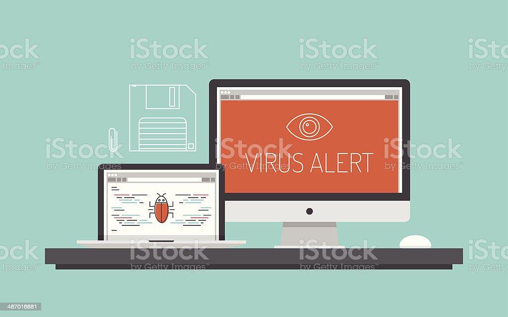 Computer virus alert concept illustration vector art illustration