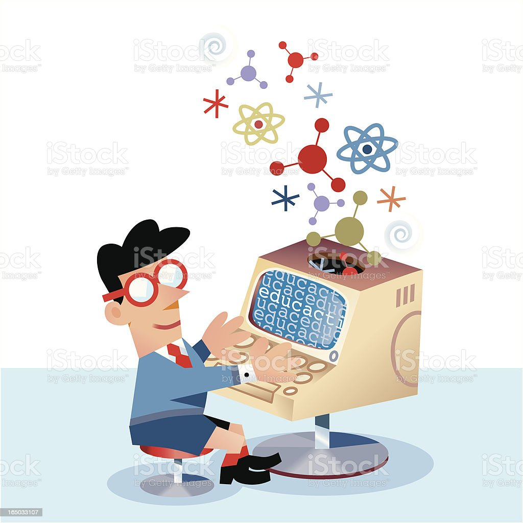 Computer Whizz Kid royalty-free stock vector art