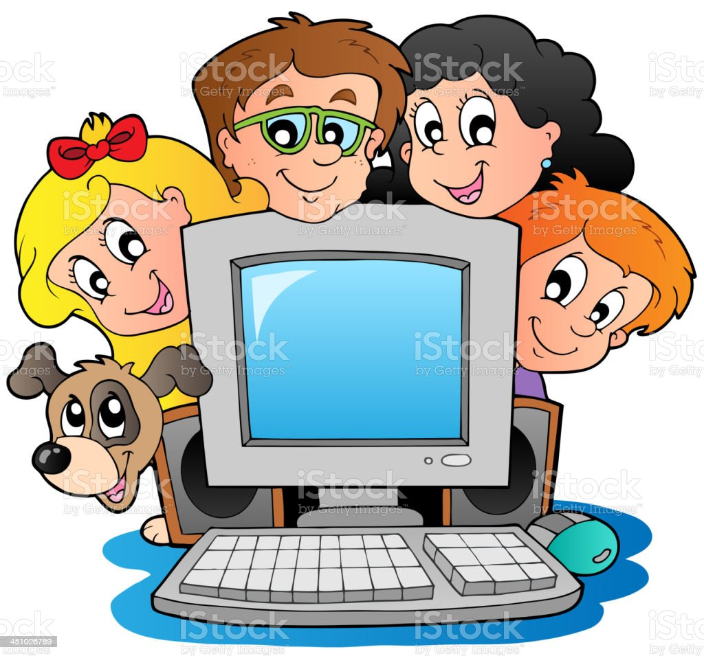 Computer with cartoon kids and dog royalty-free stock vector art