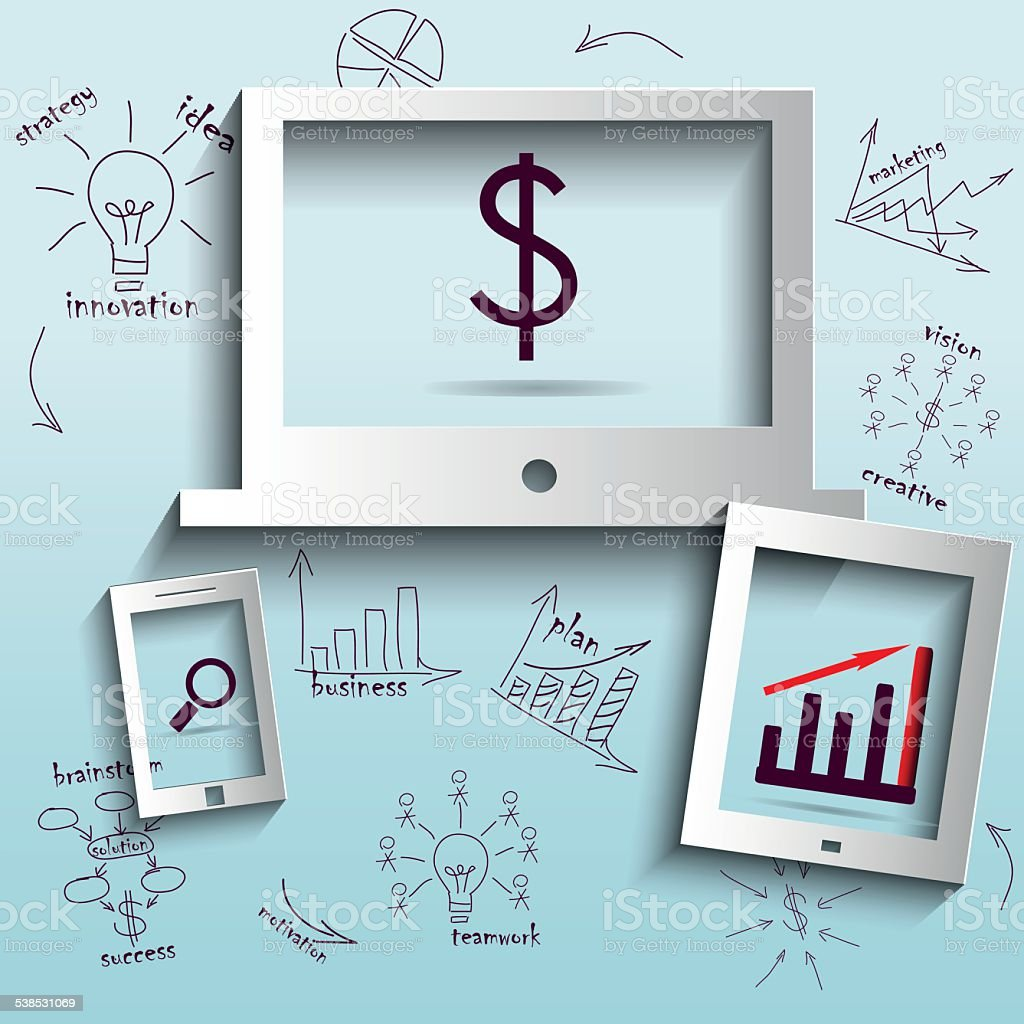 Computer With Drawing Business Plan Concept Ideas Stock Vector Art