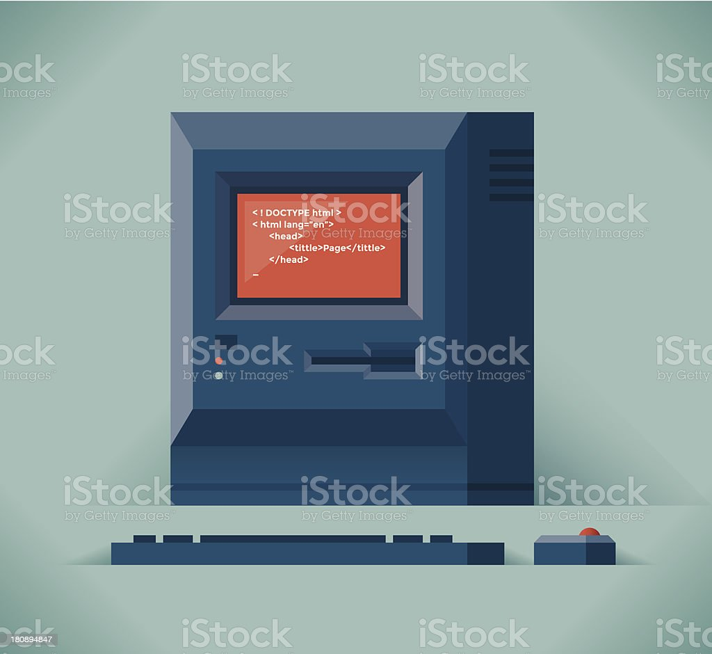 Computer with html code royalty-free stock vector art