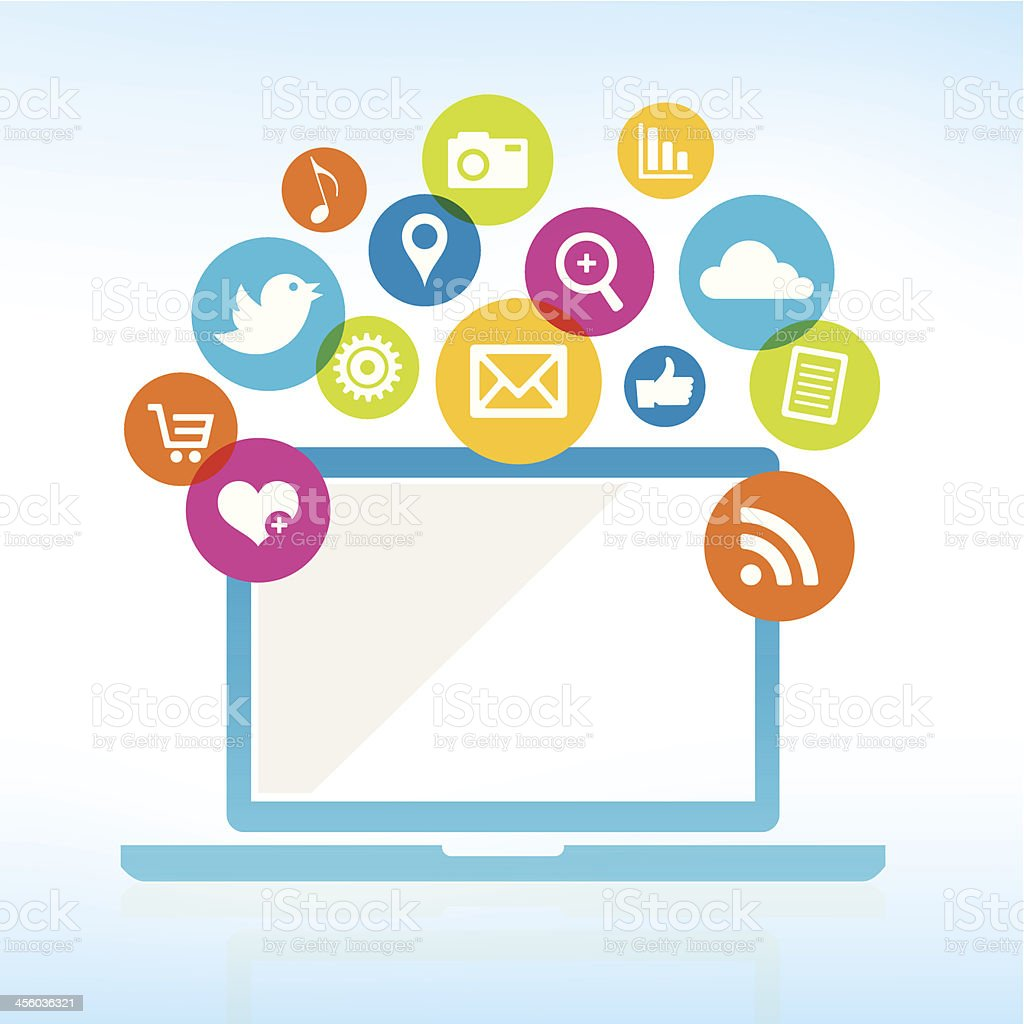 Computer with media icons vector art illustration