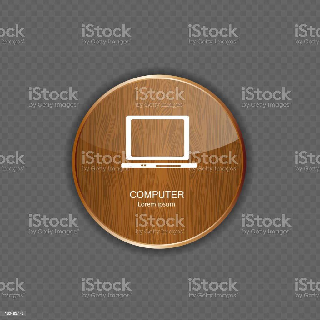 Computer wood application icons royalty-free stock vector art