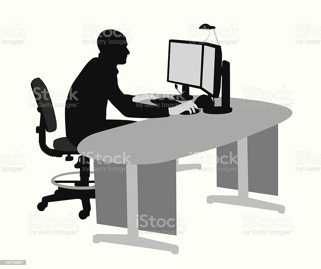 Computer Work Vector Silhouette royalty-free stock vector art