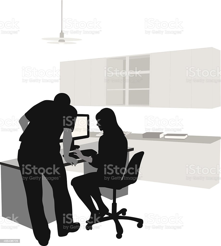 Computer Work Vector Silhouette royalty-free stock vector art