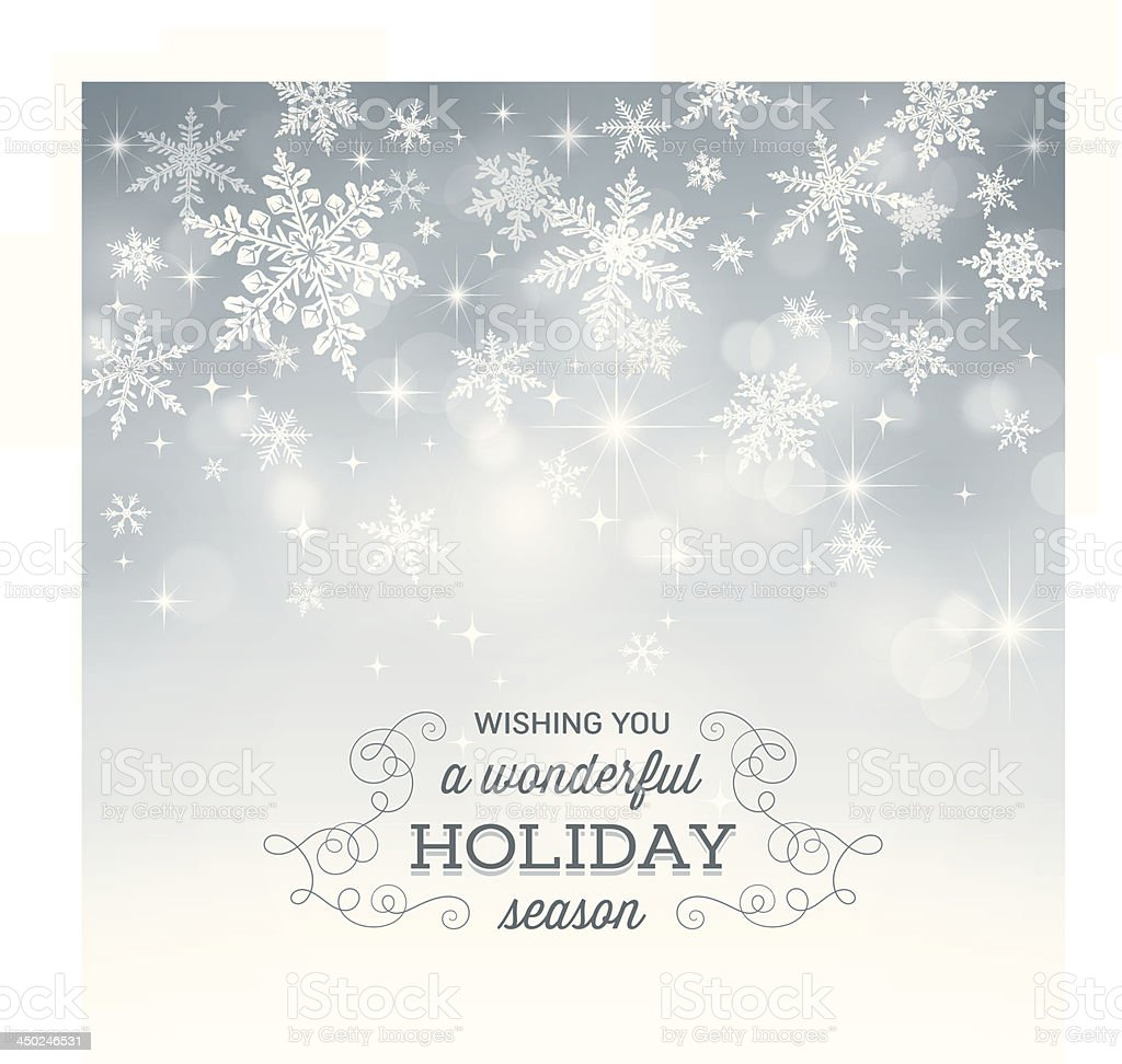 Computer-generated snowflake holiday background vector art illustration
