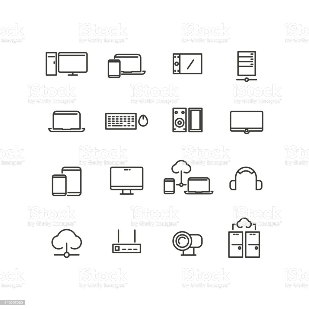 Computers and devices line icons set vector art illustration