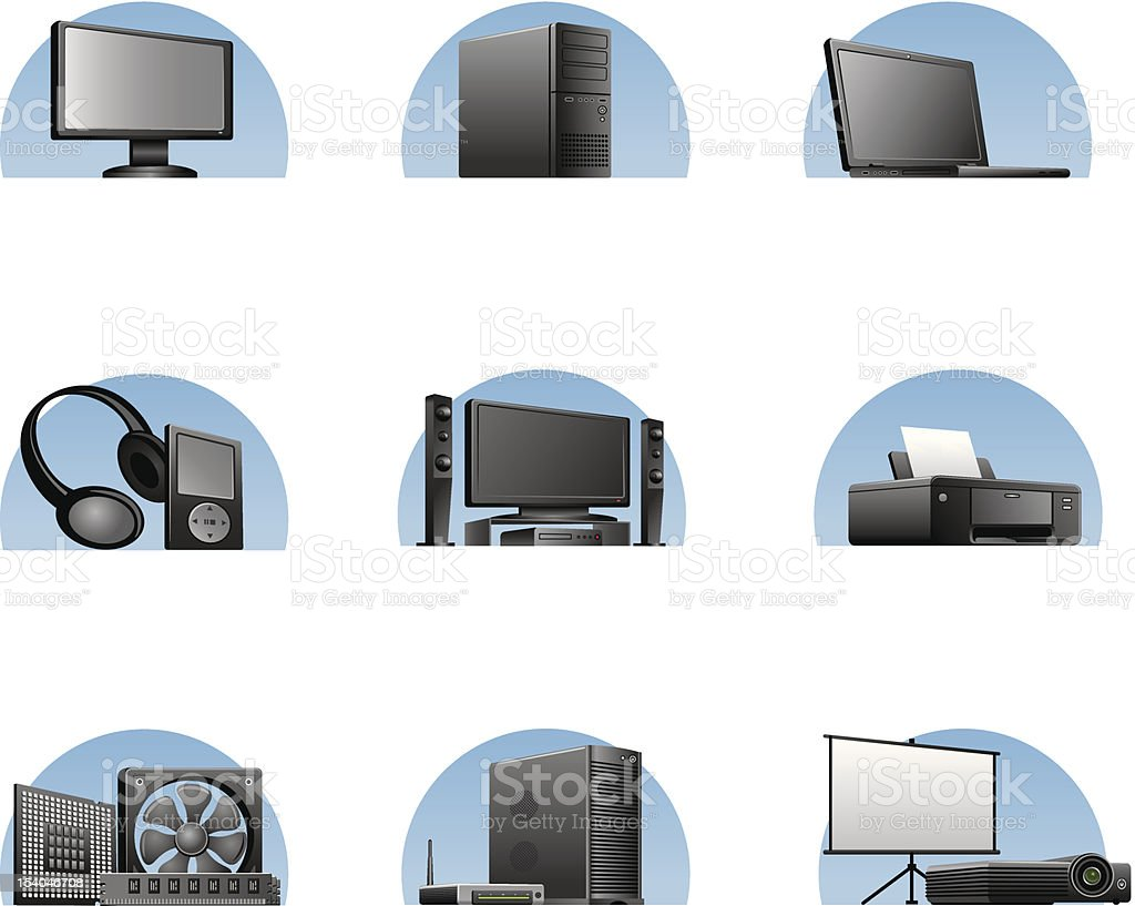 computers and electronics icons royalty-free stock vector art