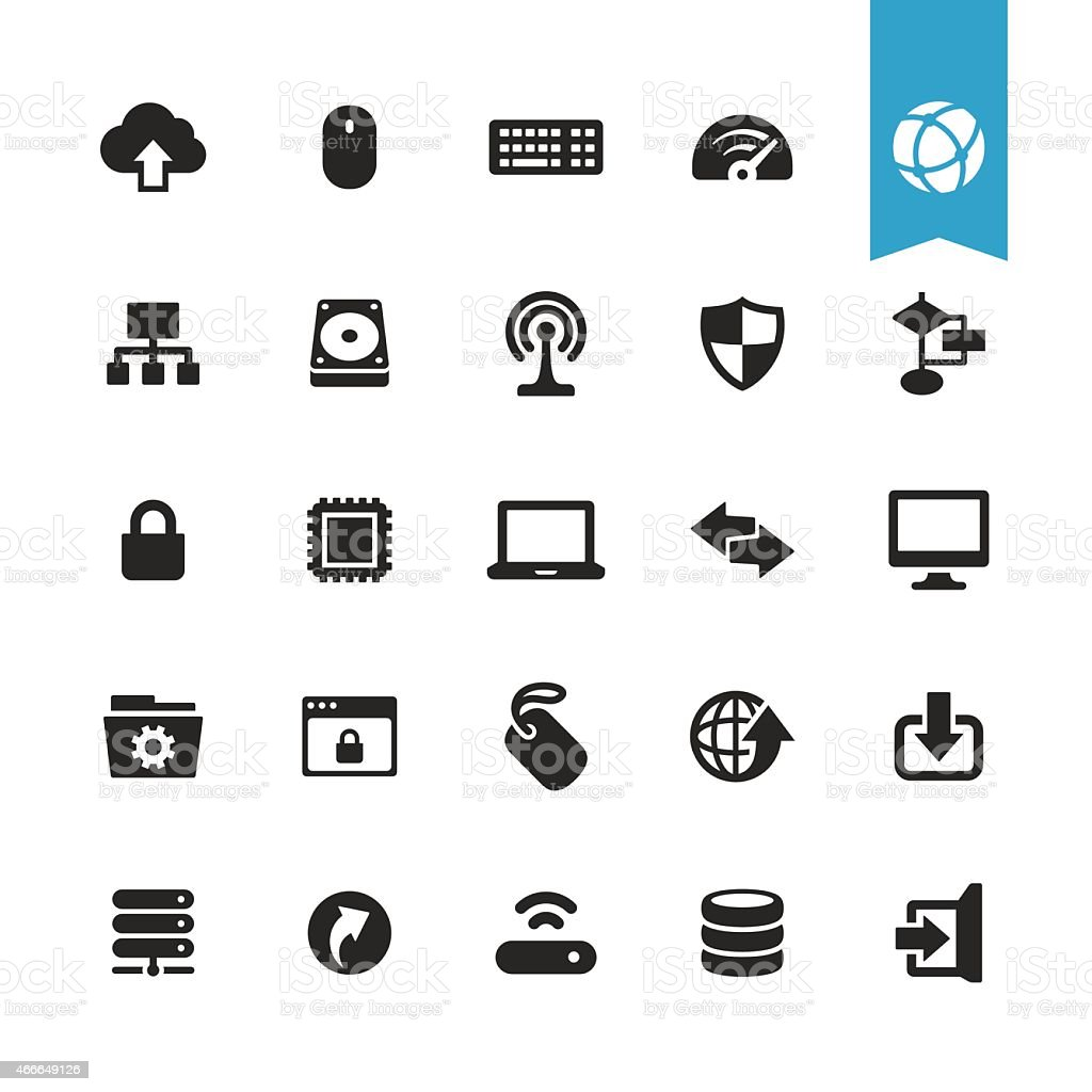 Computers and Network vector icons vector art illustration
