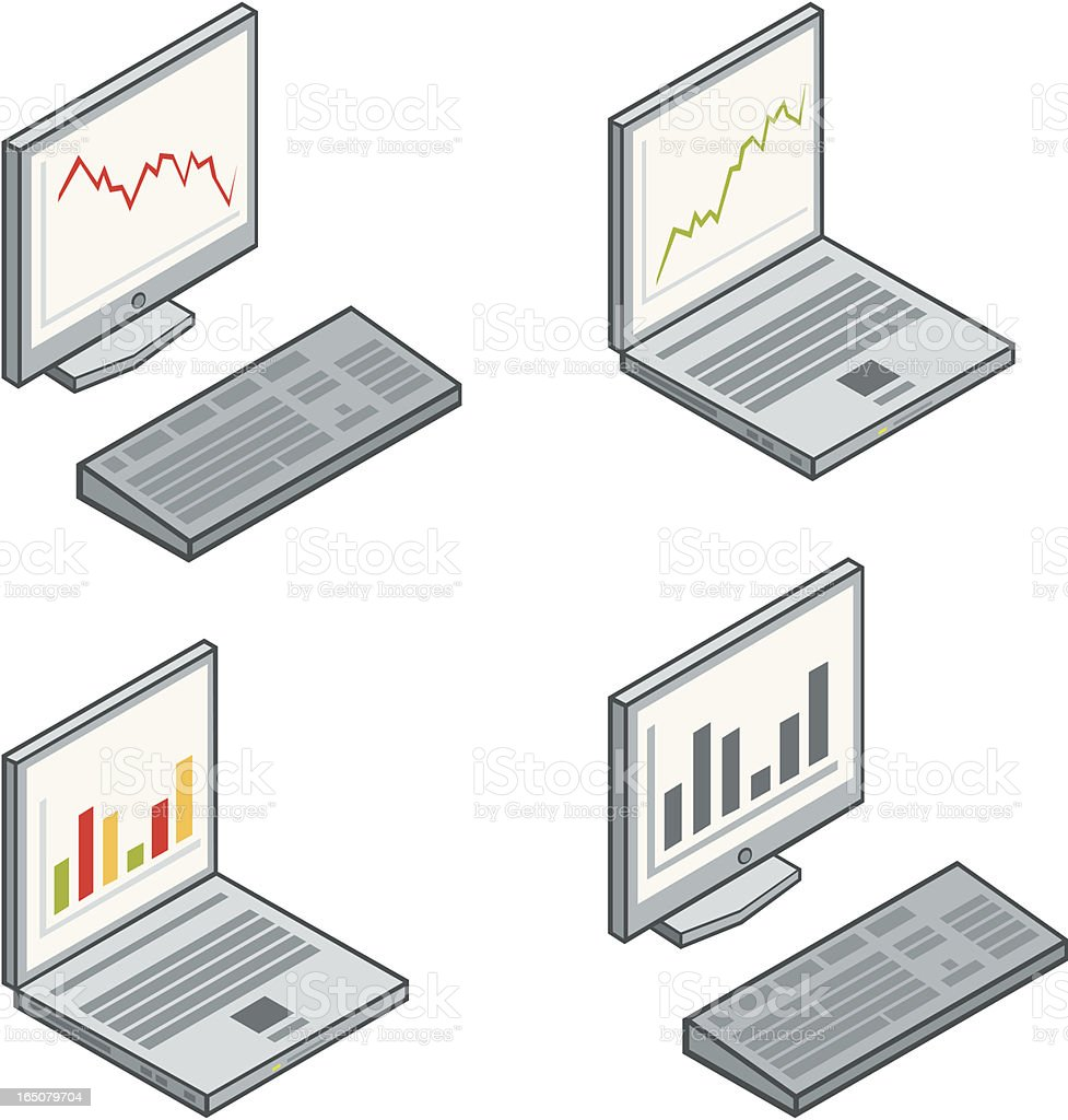 computers with graphs royalty-free stock vector art